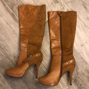 Caramel faux suede and leather knee high boots